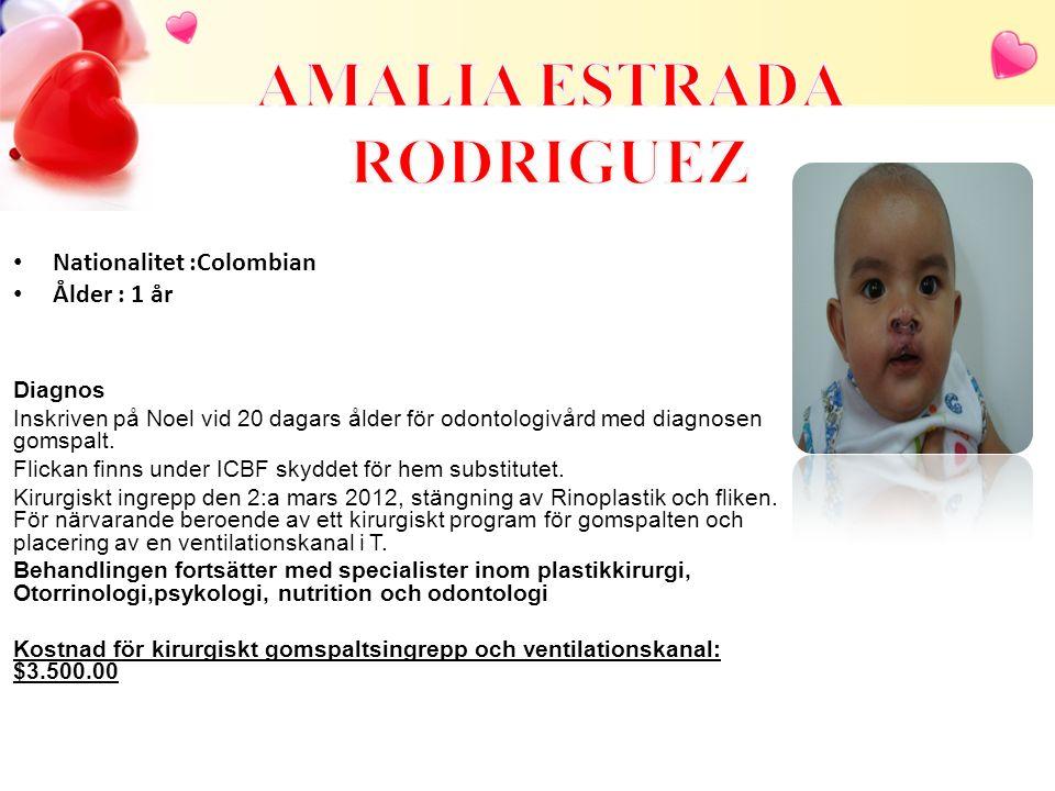 Nationalitet :Colombian Ålder : 1 år Diagnos Inskriven på Noel vid 20 dagars ålder för odontologivård med diagnosen gomspalt. Flickan finns under ICBF