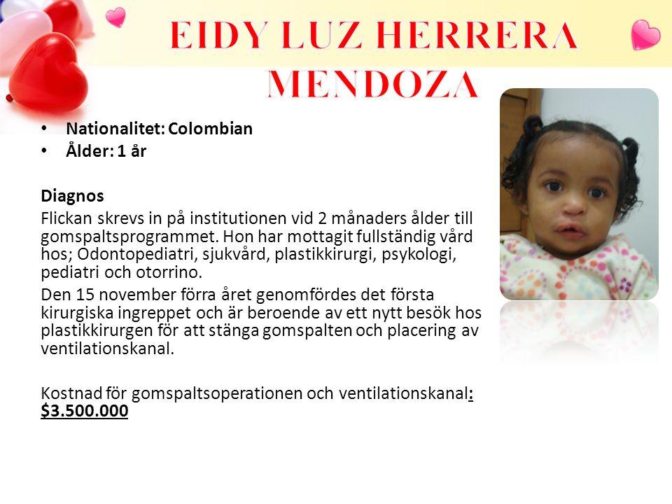 Nationalitet: Colombian Ålder: 1 år Diagnos Flickan skrevs in på institutionen vid 2 månaders ålder till gomspaltsprogrammet. Hon har mottagit fullstä