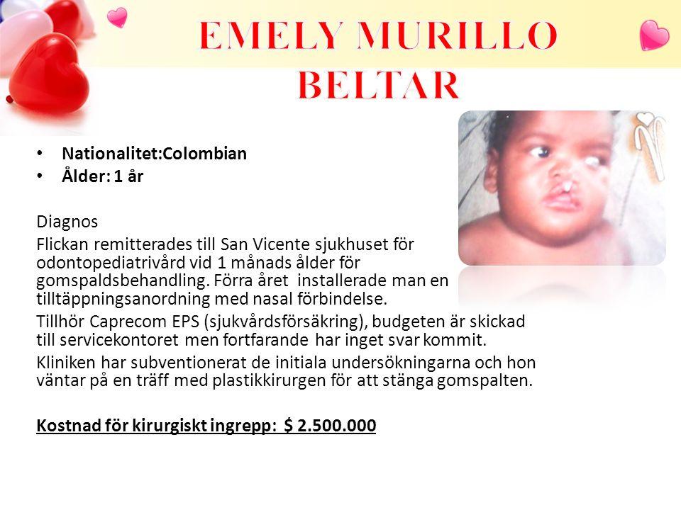 Nationalitet:Colombian Ålder: 1 år Diagnos Flickan remitterades till San Vicente sjukhuset för odontopediatrivård vid 1 månads ålder för gomspaldsbehandling.