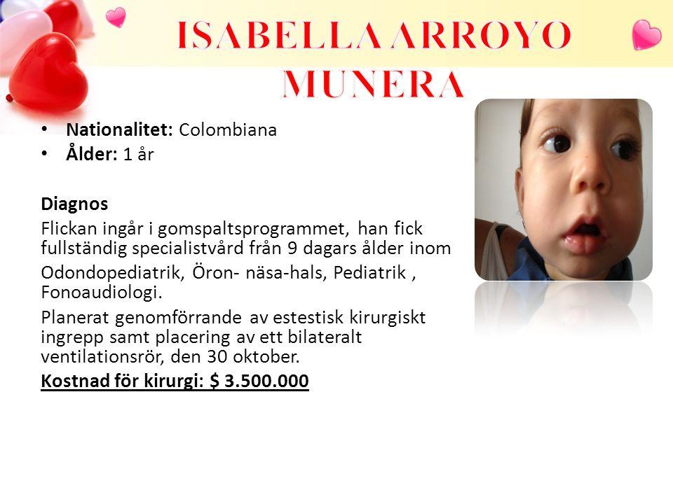 Nationalitet Colombiana Ålder: 1 år Diagnos Flickan ingår i gomspaltsprogrammet och började behandling på Noel kliniken vid 3 månaders ålder.