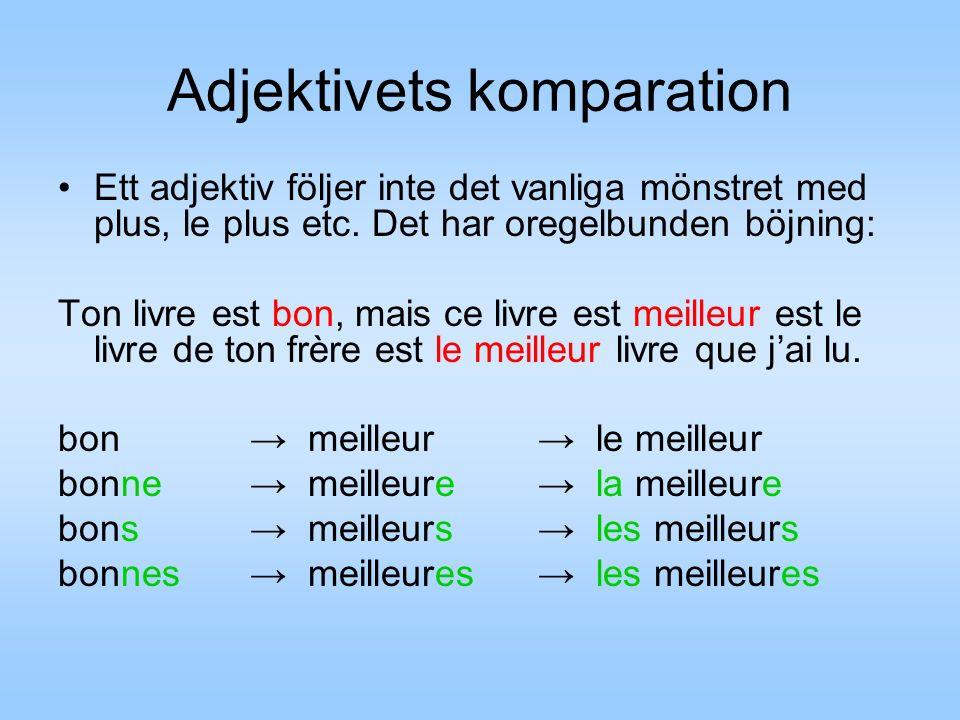 Adjektivets komparation Ett adjektiv följer inte det vanliga mönstret med plus, le plus etc. Det har oregelbunden böjning: Ton livre est bon, mais ce