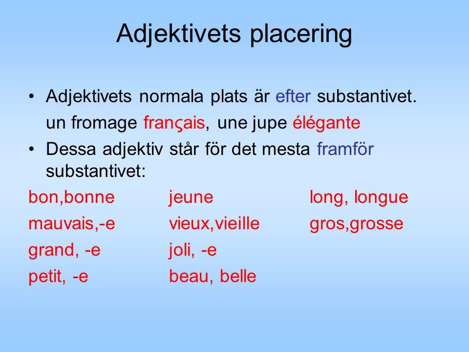 Adjektivets placering Adjektivets normala plats är efter substantivet.