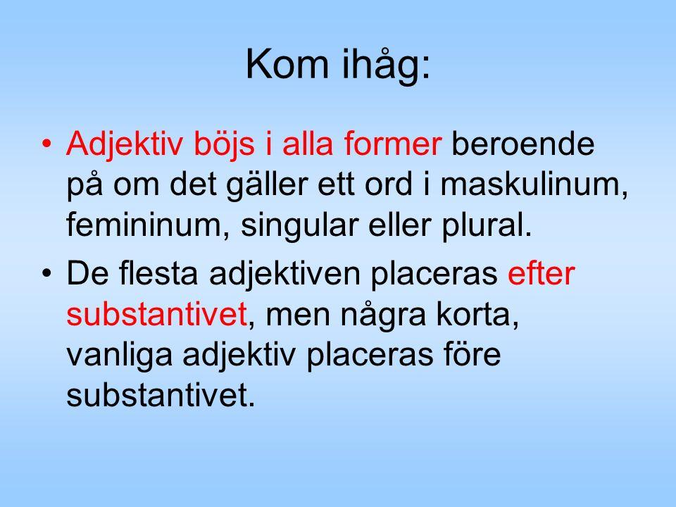 Kom ihåg: Adjektiv böjs i alla former beroende på om det gäller ett ord i maskulinum, femininum, singular eller plural. De flesta adjektiven placeras