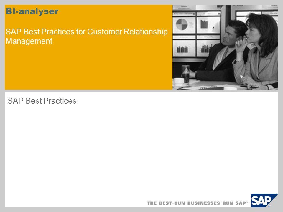 Scenarieöversikt – 1 Syfte I scenariot beskrivs hur du konfigurerar SAP NetWeaver BI-system för att analysera data från SAP CRM.