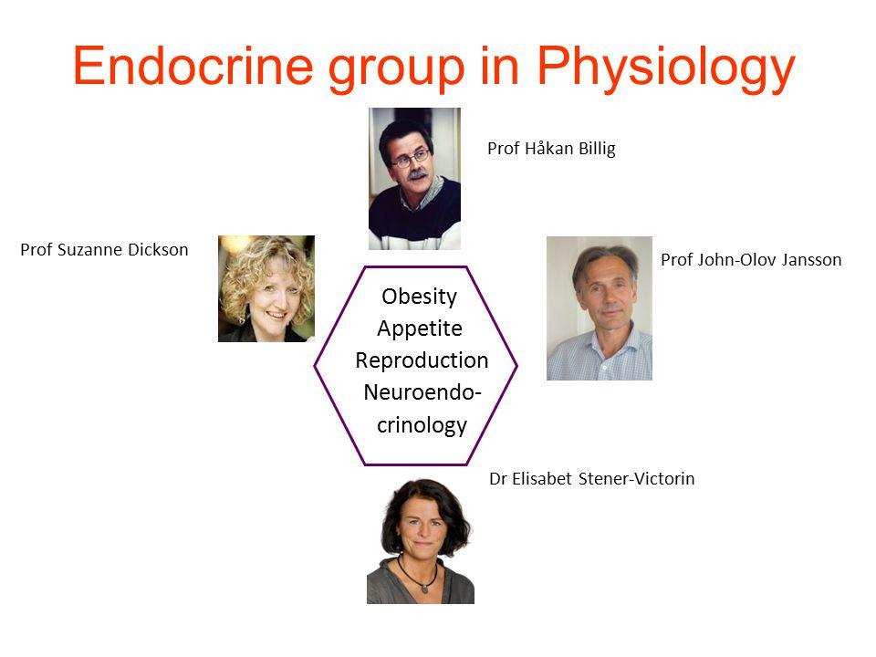 Endocrine group in Physiology Prof Håkan Billig Obesity Appetite Reproduction Neuroendo- crinology Prof John-Olov Jansson Prof Suzanne Dickson Dr Elis
