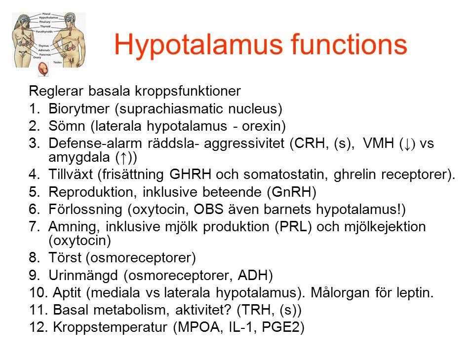 Hypotalamus functions Reglerar basala kroppsfunktioner 1.Biorytmer (suprachiasmatic nucleus) 2.Sömn (laterala hypotalamus - orexin) 3.Defense-alarm räddsla- aggressivitet (CRH, (s), VMH ( ↓) vs amygdala (↑)) 4.Tillväxt (frisättning GHRH och somatostatin, ghrelin receptorer).