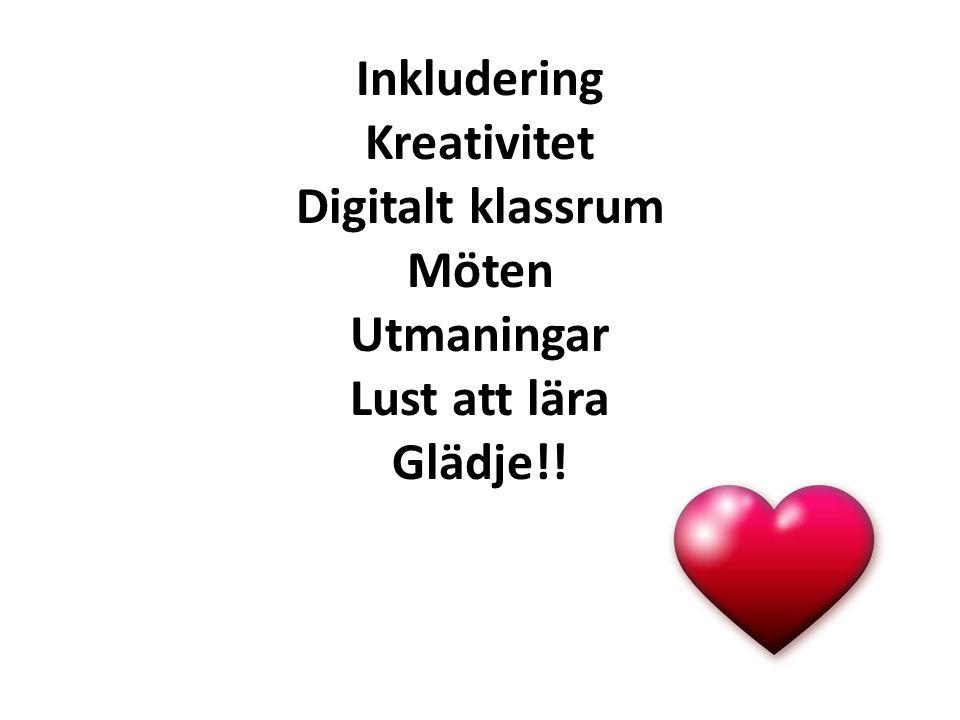 Inkludering Kreativitet Digitalt klassrum Möten Utmaningar Lust att lära Glädje!!