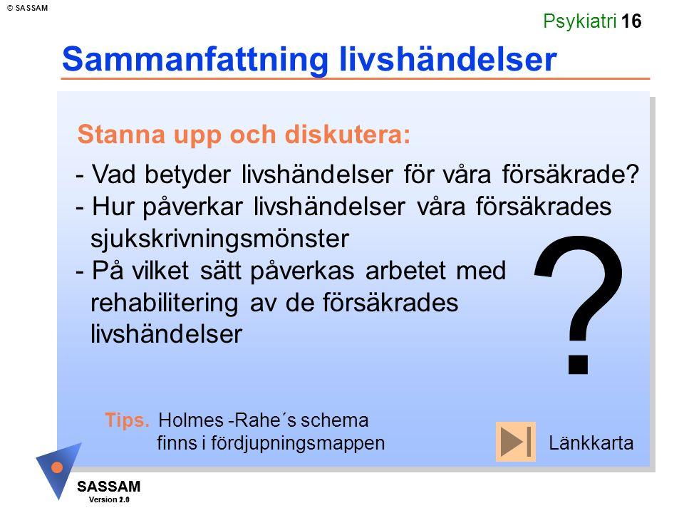 SASSAM Version 1.1 © SASSAM SASSAM Version 2.0 Psykiatri 16 Sammanfattning livshändelser Tips. Holmes -Rahe´s schema finns i fördjupningsmappen - Vad