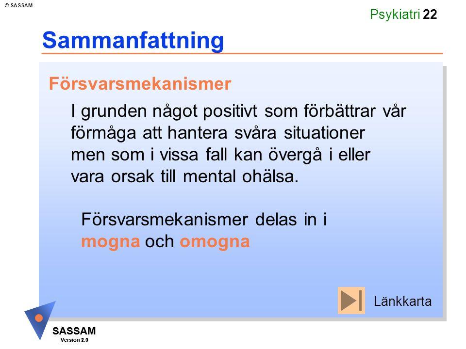SASSAM Version 1.1 © SASSAM SASSAM Version 2.0 Psykiatri 22 Sammanfattning I grunden något positivt som förbättrar vår förmåga att hantera svåra situa