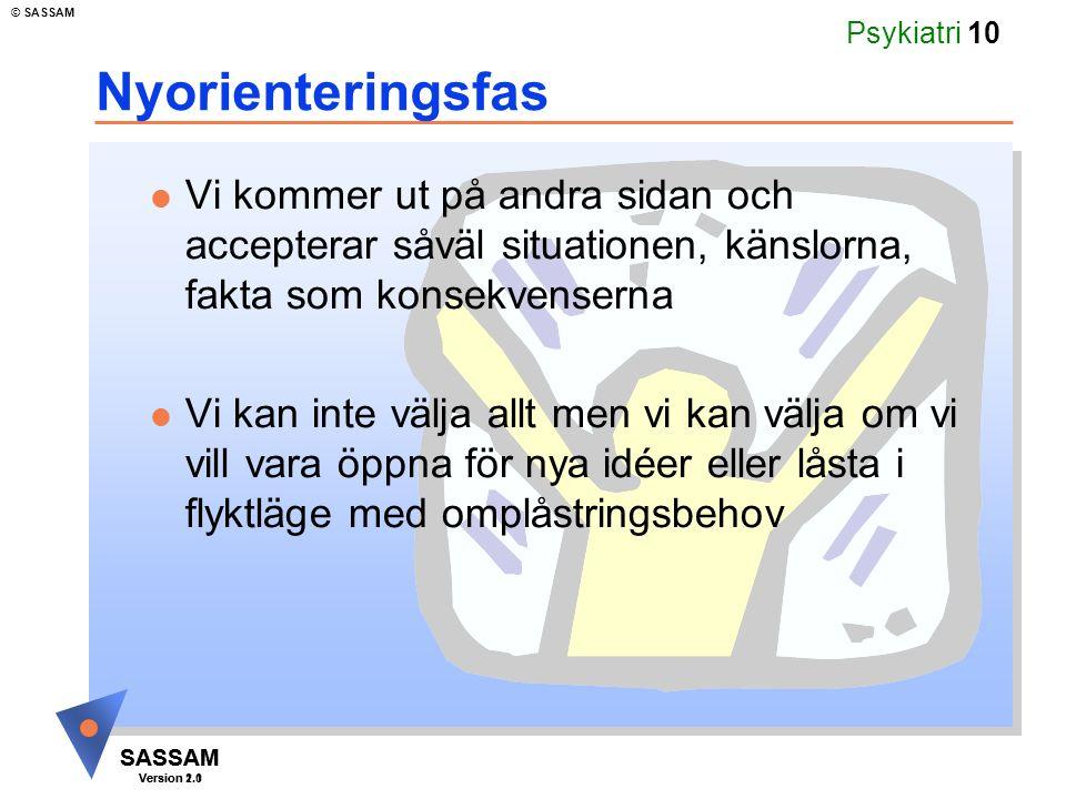 SASSAM Version 1.1 © SASSAM SASSAM Version 2.0 Psykiatri 10 Nyorienteringsfas  Vi kommer ut på andra sidan och accepterar såväl situationen, känslorna, fakta som konsekvenserna  Vi kan inte välja allt men vi kan välja om vi vill vara öppna för nya idéer eller låsta i flyktläge med omplåstringsbehov