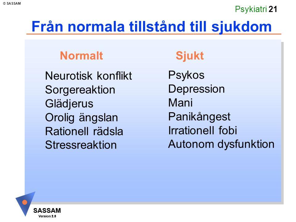 SASSAM Version 1.1 © SASSAM SASSAM Version 2.0 Psykiatri 21 Från normala tillstånd till sjukdom Neurotisk konflikt Sorgereaktion Glädjerus Orolig ängs