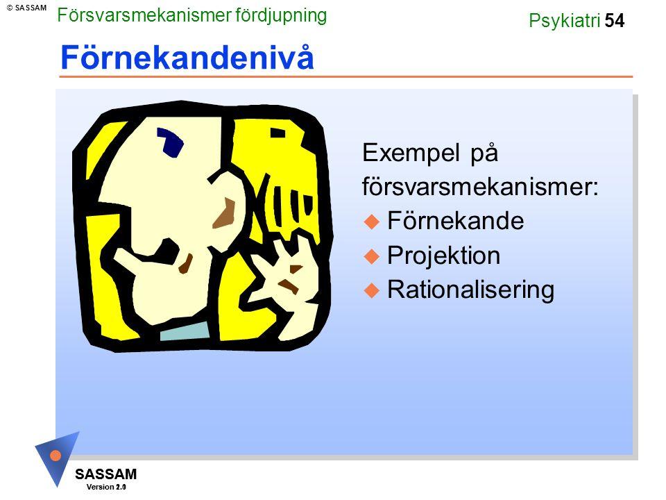 SASSAM Version 1.1 © SASSAM SASSAM Version 2.0 Psykiatri 54 Förnekandenivå Exempel på försvarsmekanismer: u Förnekande u Projektion u Rationalisering