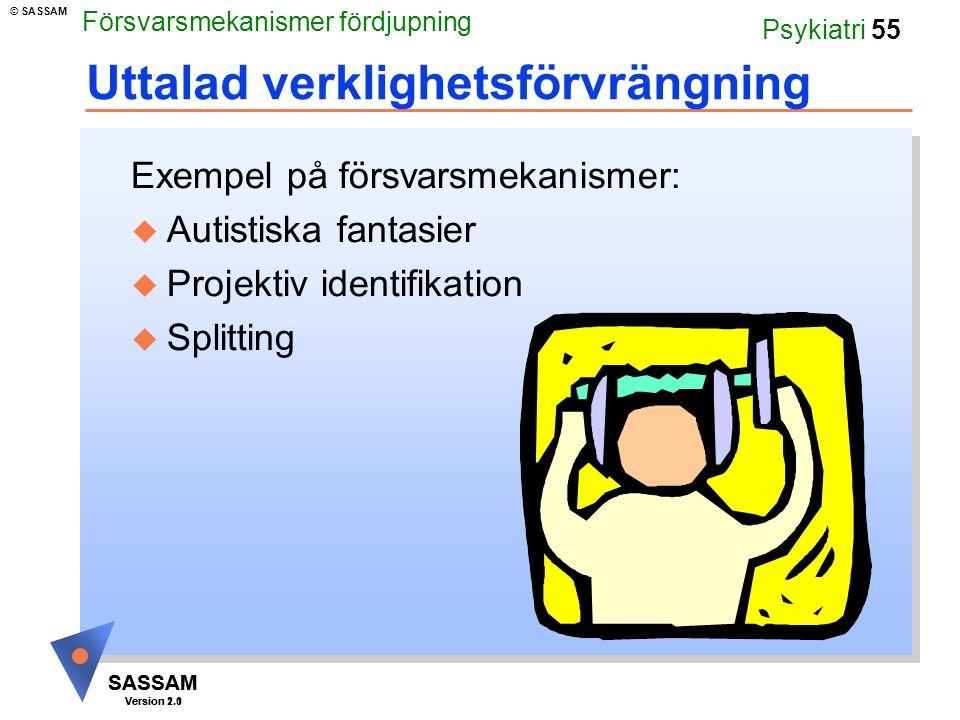 SASSAM Version 1.1 © SASSAM SASSAM Version 2.0 Psykiatri 55 Uttalad verklighetsförvrängning Exempel på försvarsmekanismer: u Autistiska fantasier u Pr