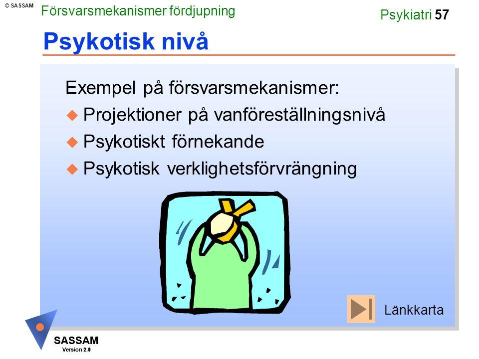 SASSAM Version 1.1 © SASSAM SASSAM Version 2.0 Psykiatri 57 Psykotisk nivå Exempel på försvarsmekanismer: u Projektioner på vanföreställningsnivå u Psykotiskt förnekande u Psykotisk verklighetsförvrängning Länkkarta Försvarsmekanismer fördjupning