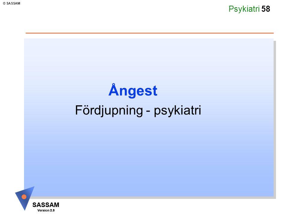 SASSAM Version 1.1 © SASSAM SASSAM Version 2.0 Psykiatri 58 Ångest Fördjupning - psykiatri