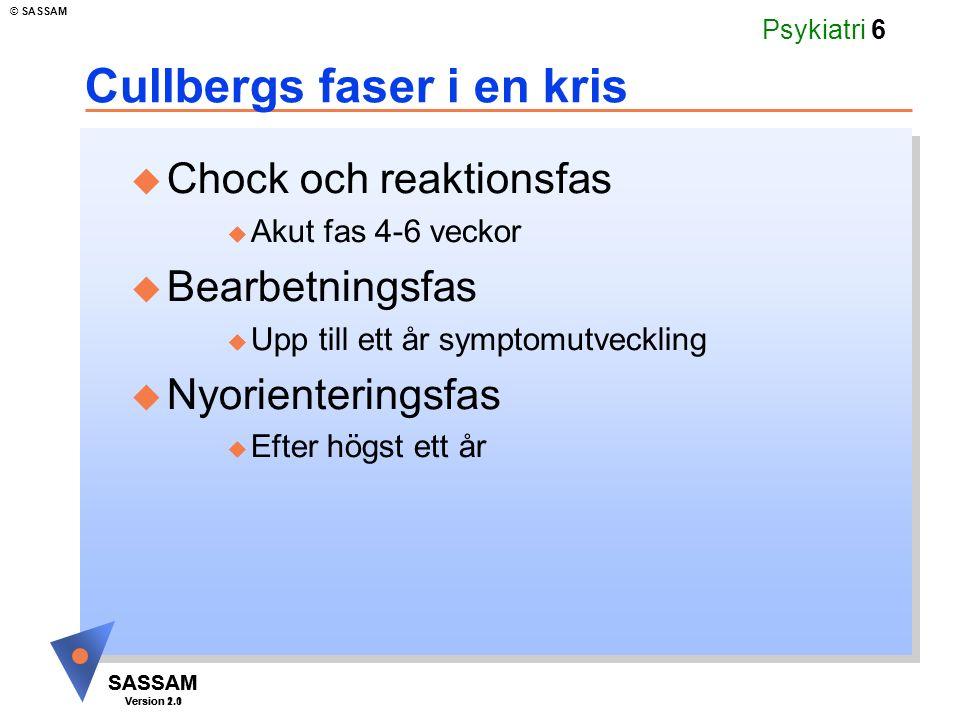 SASSAM Version 1.1 © SASSAM SASSAM Version 2.0 Psykiatri 6 Cullbergs faser i en kris u Chock och reaktionsfas u Akut fas 4-6 veckor u Bearbetningsfas