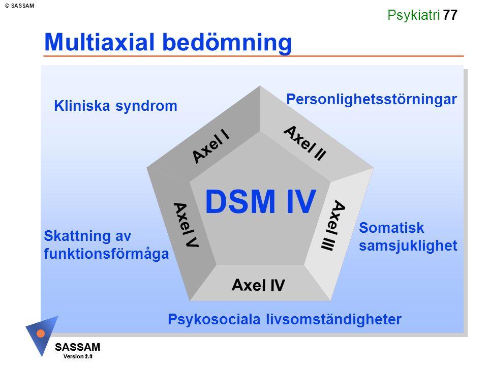 SASSAM Version 1.1 © SASSAM SASSAM Version 2.0 Psykiatri 77 Multiaxial bedömning Kliniska syndrom Personlighetsstörningar Axel I Axel II Axel III Axel IV Axel V Somatisk samsjuklighet Psykosociala livsomständigheter Skattning av funktionsförmåga DSM IV