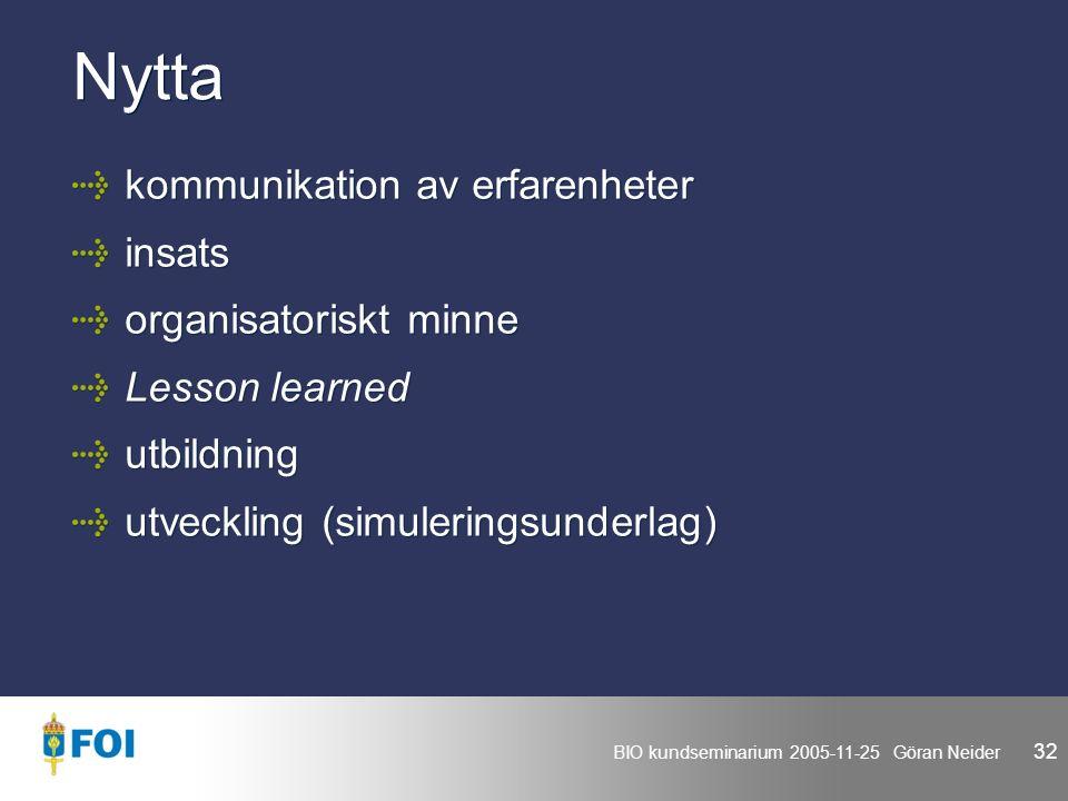 BIO kundseminarium 2005-11-25 Göran Neider 32 Nytta kommunikation av erfarenheter insats organisatoriskt minne Lesson learned utbildning utveckling (simuleringsunderlag) kommunikation av erfarenheter insats organisatoriskt minne Lesson learned utbildning utveckling (simuleringsunderlag)