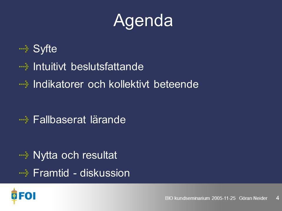 BIO kundseminarium 2005-11-25 Göran Neider 4 Agenda Syfte Intuitivt beslutsfattande Indikatorer och kollektivt beteende Fallbaserat lärande Nytta och resultat Framtid - diskussion Syfte Intuitivt beslutsfattande Indikatorer och kollektivt beteende Fallbaserat lärande Nytta och resultat Framtid - diskussion