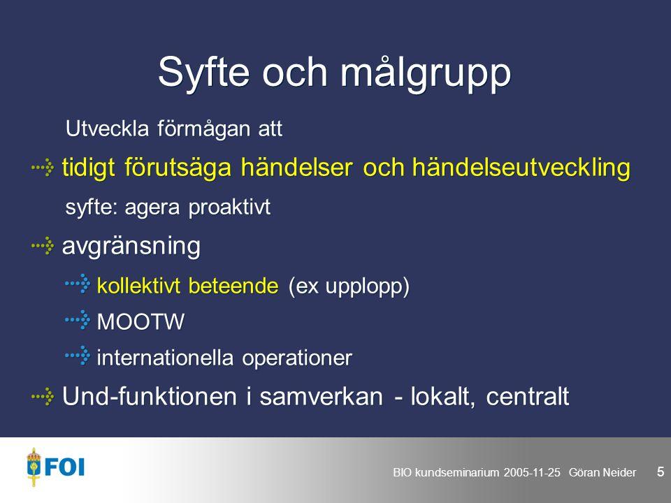 BIO kundseminarium 2005-11-25 Göran Neider 5 Syfte och målgrupp Utveckla förmågan att tidigt förutsäga händelser och händelseutveckling syfte: agera proaktivt avgränsning kollektivt beteende (ex upplopp) MOOTW internationella operationer Und-funktionen i samverkan - lokalt, centralt Utveckla förmågan att tidigt förutsäga händelser och händelseutveckling syfte: agera proaktivt avgränsning kollektivt beteende (ex upplopp) MOOTW internationella operationer Und-funktionen i samverkan - lokalt, centralt