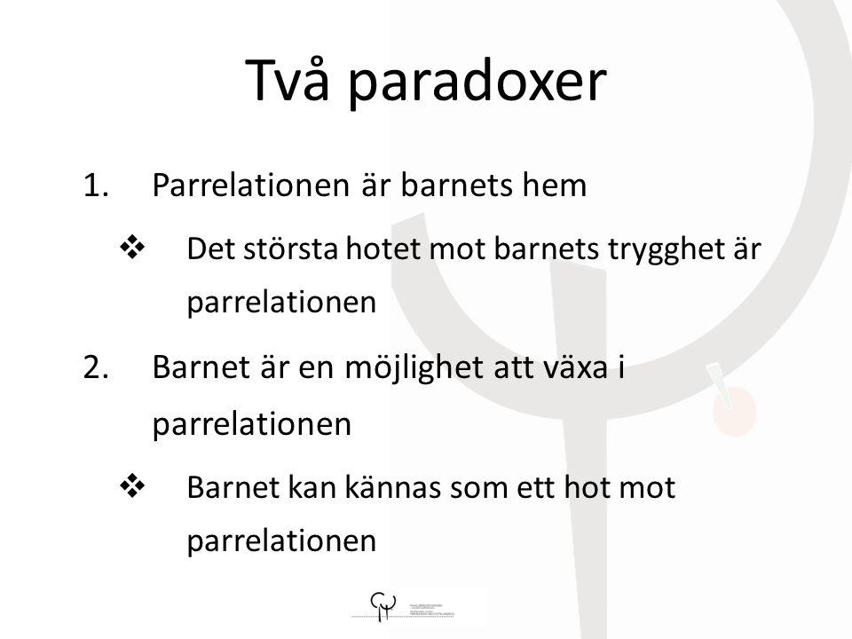 Två paradoxer 1.Parrelationen är barnets hem  Det största hotet mot barnets trygghet är parrelationen 2.Barnet är en möjlighet att växa i parrelationen  Barnet kan kännas som ett hot mot parrelationen