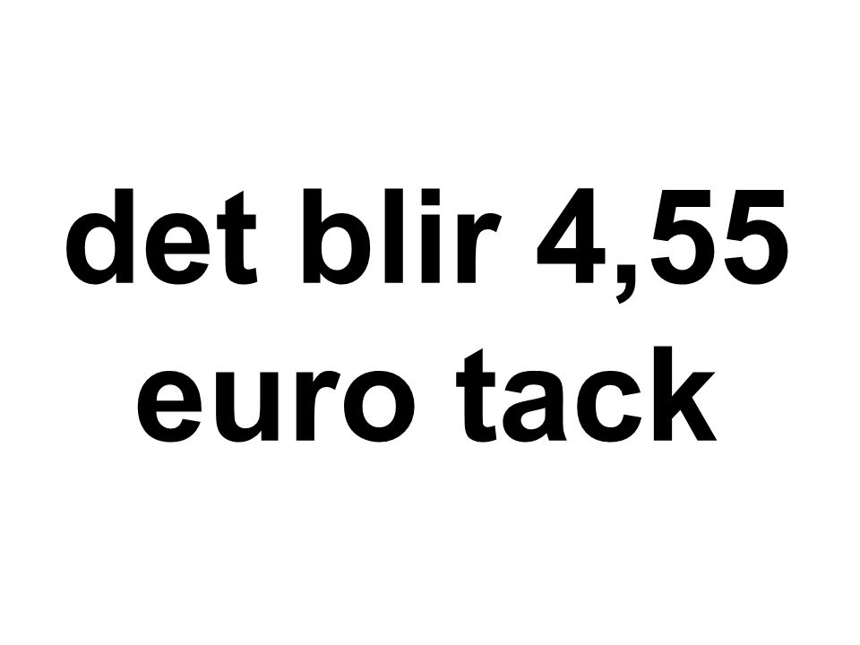 det blir 4,55 euro tack