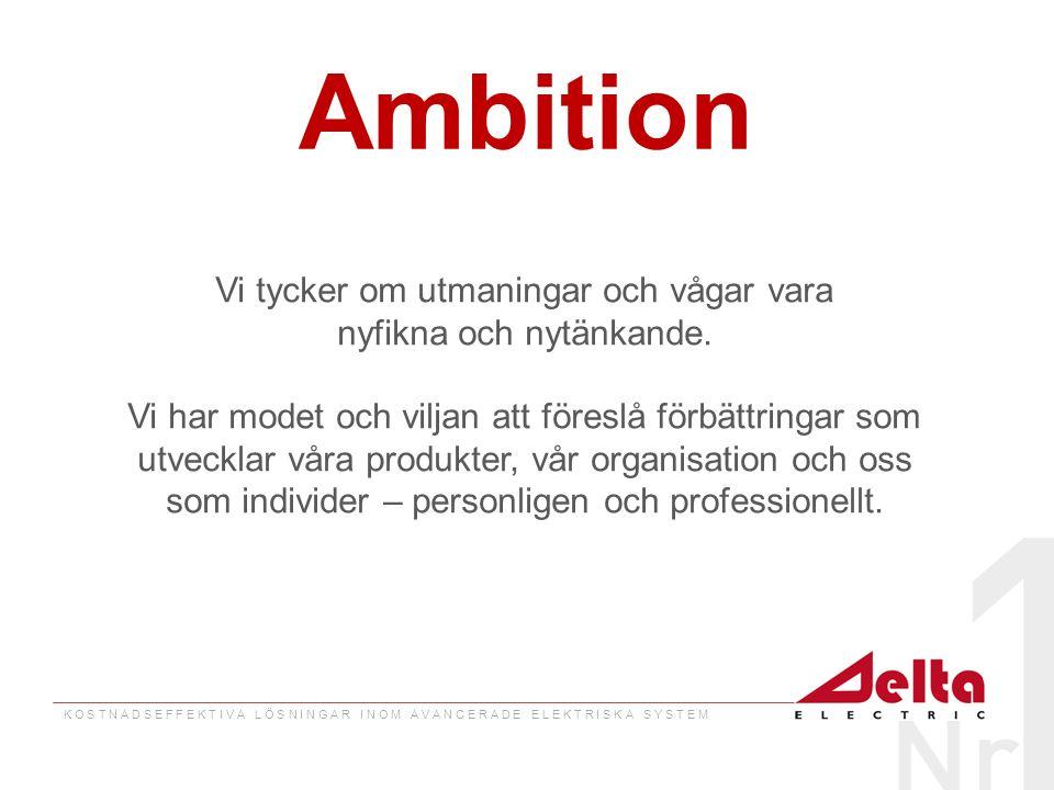 K O S T N A D S E F F E K T I V A L Ö S N I N G A R I N O M A V A N C E R A D E E L E K T R I S K A S Y S T E M Ambition Vi tycker om utmaningar och vågar vara nyfikna och nytänkande.