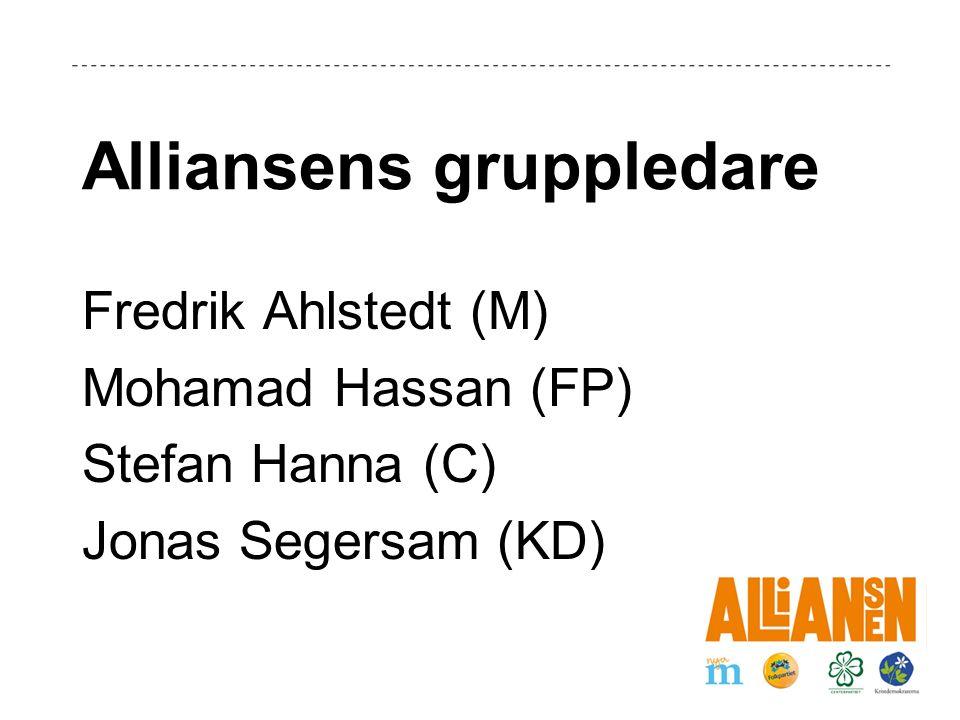 Alliansens gruppledare Fredrik Ahlstedt (M) Mohamad Hassan (FP) Stefan Hanna (C) Jonas Segersam (KD)