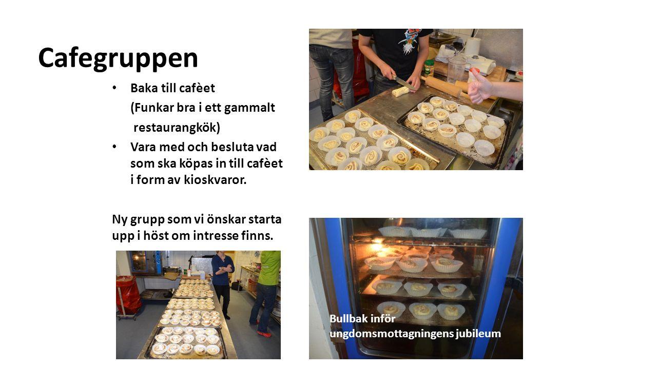 Cafegruppen Baka till cafèet (Funkar bra i ett gammalt restaurangkök) Vara med och besluta vad som ska köpas in till cafèet i form av kioskvaror.
