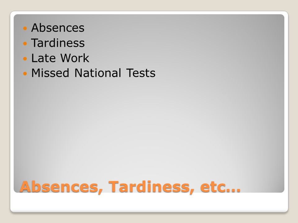 Absences, Tardiness, etc… Absences Tardiness Late Work Missed National Tests