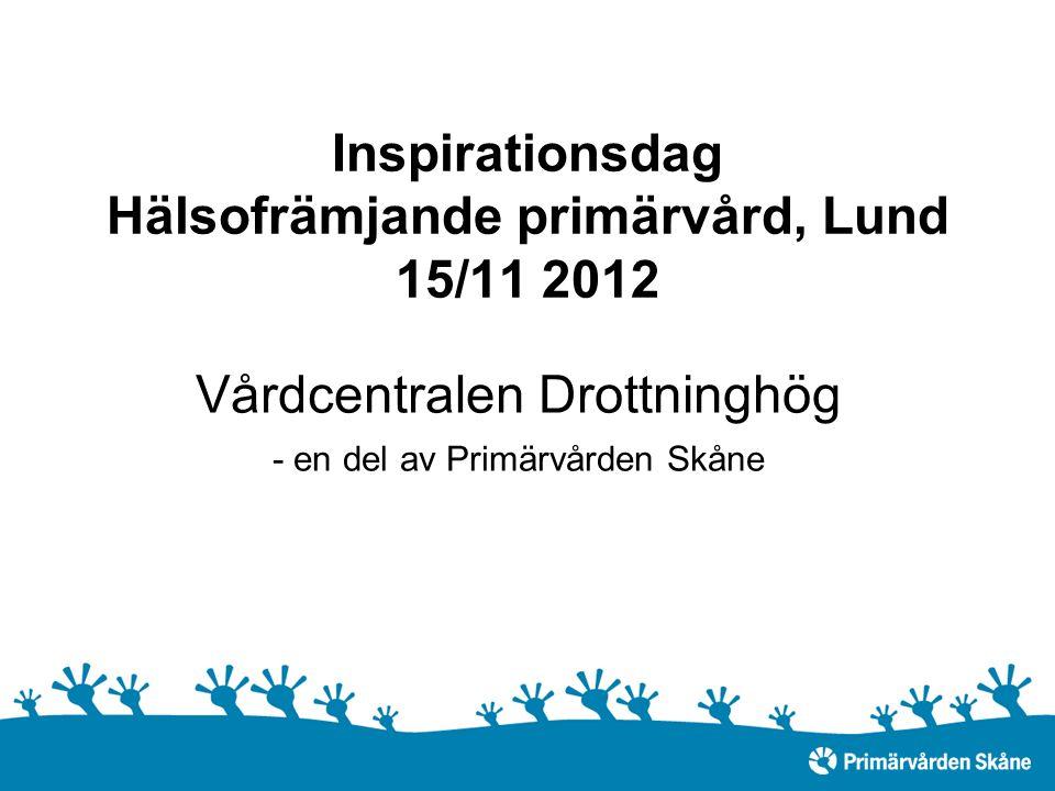 Inspirationsdag Hälsofrämjande primärvård, Lund 15/11 2012 Vårdcentralen Drottninghög - en del av Primärvården Skåne