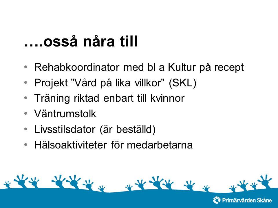 ….osså nåra till Rehabkoordinator med bl a Kultur på recept Projekt Vård på lika villkor (SKL) Träning riktad enbart till kvinnor Väntrumstolk Livsstilsdator (är beställd) Hälsoaktiviteter för medarbetarna