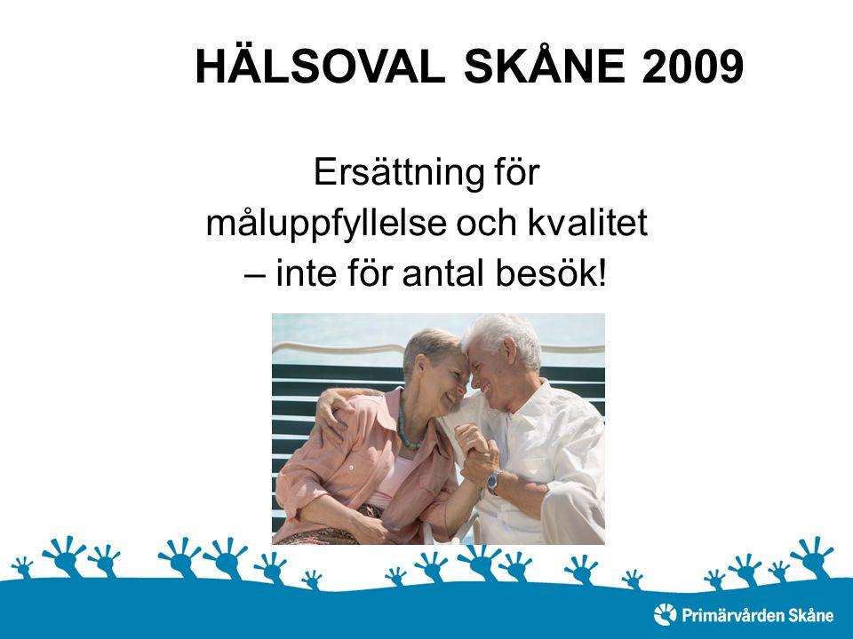 HÄLSOVAL SKÅNE 2009 Ersättning för måluppfyllelse och kvalitet – inte för antal besök!