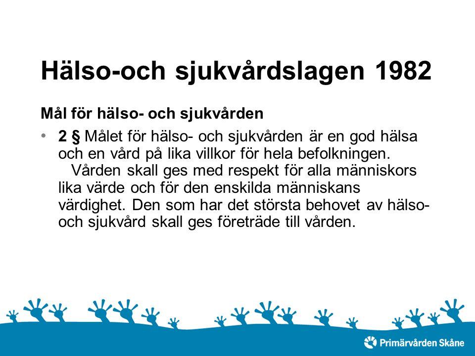 Hälso-och sjukvårdslagen 1982 Mål för hälso- och sjukvården 2 § Målet för hälso- och sjukvården är en god hälsa och en vård på lika villkor för hela befolkningen.