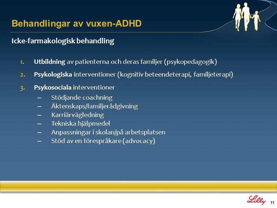 11 Icke-farmakologisk behandling 1.Utbildning av patienterna och deras familjer (psykopedagogik) 2.Psykologiska interventioner (kognitiv beteendeterap
