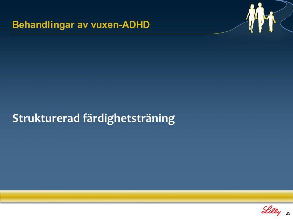 29 Behandlingar av vuxen-ADHD Strukturerad färdighetsträning