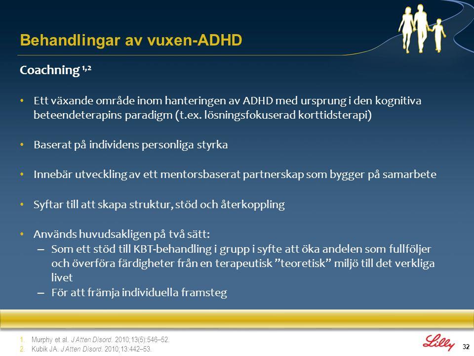 32 Coachning 1,2 Ett växande område inom hanteringen av ADHD med ursprung i den kognitiva beteendeterapins paradigm (t.ex. lösningsfokuserad korttidst