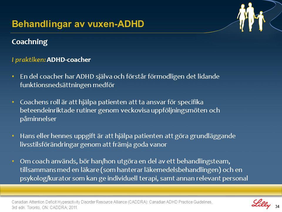 34 Coachning I praktiken: ADHD-coacher En del coacher har ADHD själva och förstår förmodligen det lidande funktionsnedsättningen medför Coachens roll