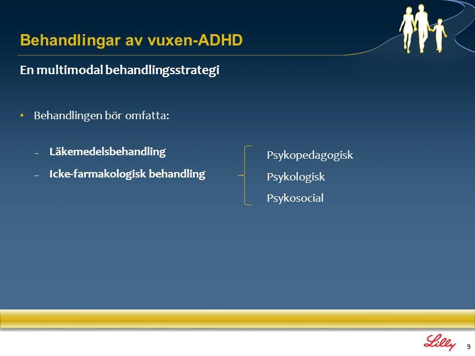 9 En multimodal behandlingsstrategi Behandlingen bör omfatta: – Läkemedelsbehandling – Icke-farmakologisk behandling Psykopedagogisk Psykologisk Psyko