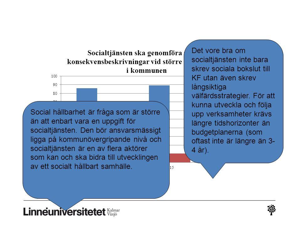 Det vore bra om socialtjänsten inte bara skrev sociala bokslut till KF utan även skrev långsiktiga välfärdsstrategier. För att kunna utveckla och följ