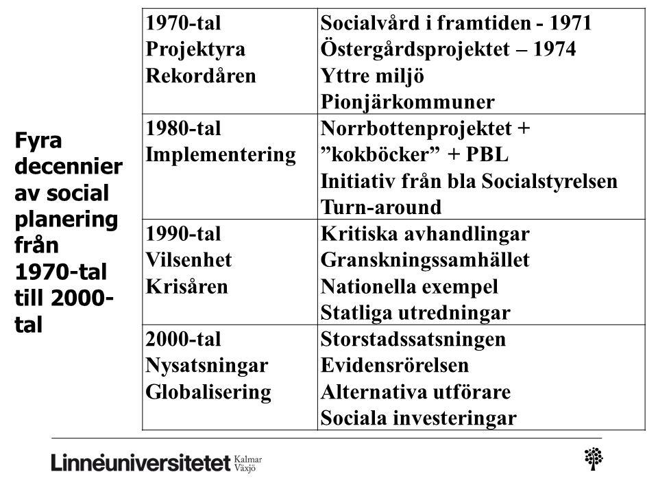 1970-tal Projektyra Rekordåren Socialvård i framtiden - 1971 Östergårdsprojektet – 1974 Yttre miljö Pionjärkommuner 1980-tal Implementering Norrbotten