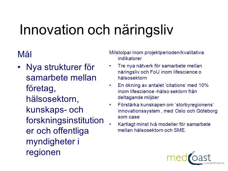 Innovation och näringsliv (2) Etablerat samarbete om innovationshantering och entreprenörsutbildning Vid projektperiodens slut skall antalet studenter som deltar i entreprenörsutbildning (lifescience) i regionen vara tredubblat.