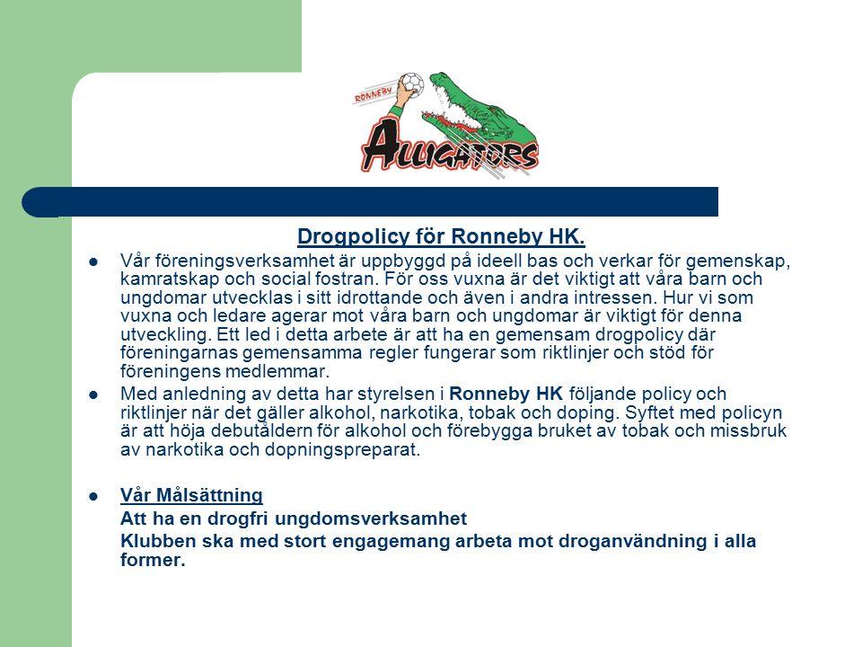 Drogpolicy för Ronneby HK.