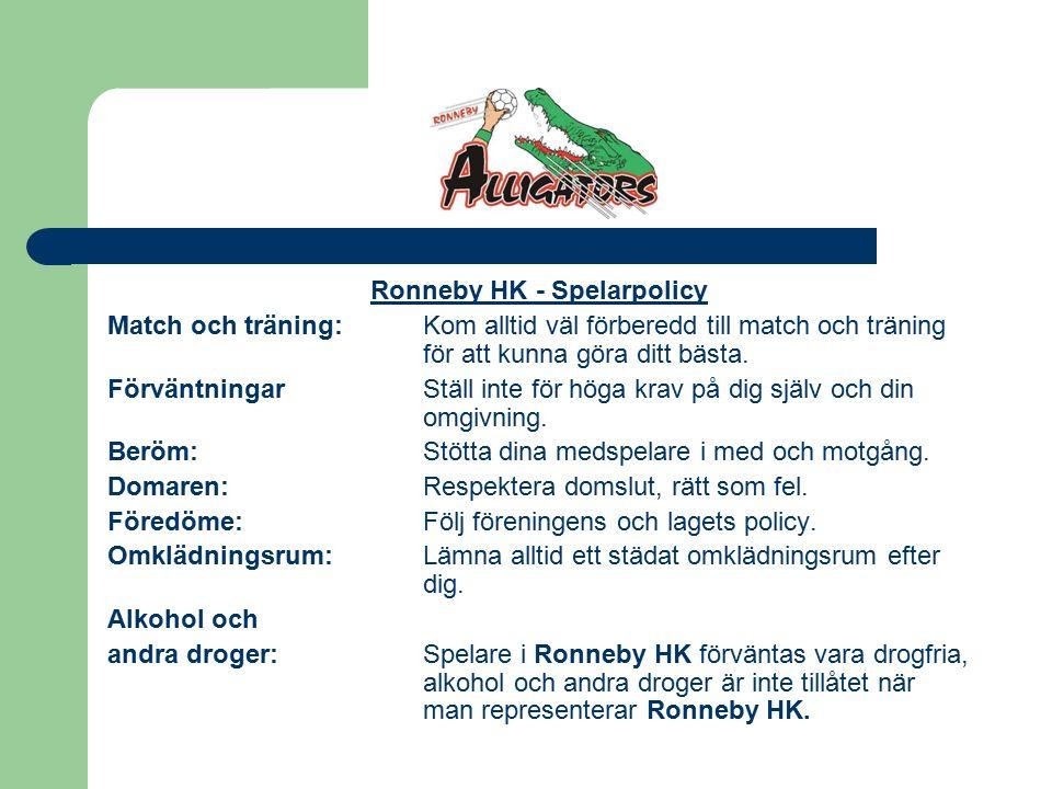 Ronneby HK - Spelarpolicy Match och träning:Kom alltid väl förberedd till match och träning för att kunna göra ditt bästa.