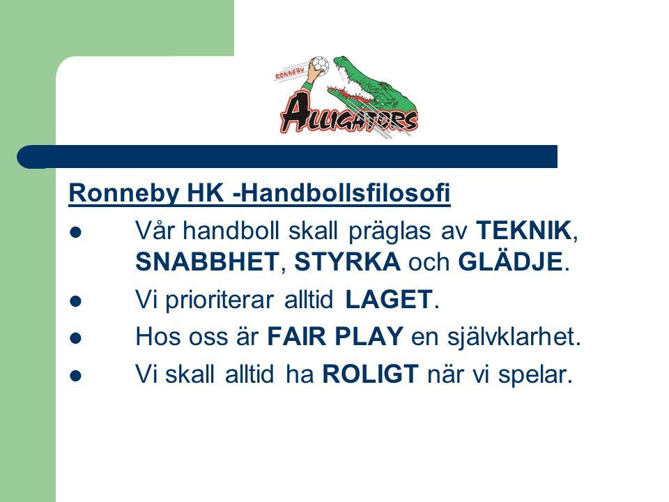 Ronneby HK -Handbollsfilosofi Vår handboll skall präglas av TEKNIK, SNABBHET, STYRKA och GLÄDJE.