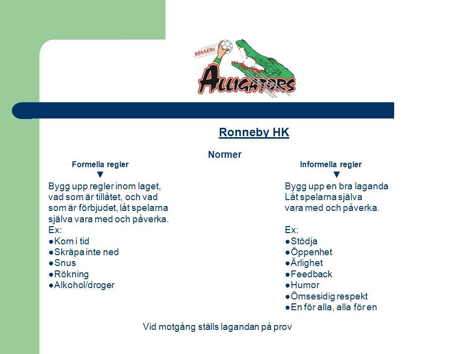 Ronneby HK Normer Formella regler Informella regler▼ Bygg upp regler inom laget,Bygg upp en bra laganda vad som är tillåtet, och vadLåt spelarna själva som är förbjudet, låt spelarnavara med och påverka.