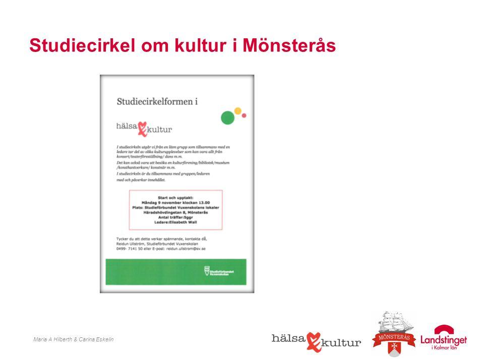 Studiecirkel om kultur i Mönsterås Maria A Hilberth & Carina Eskelin