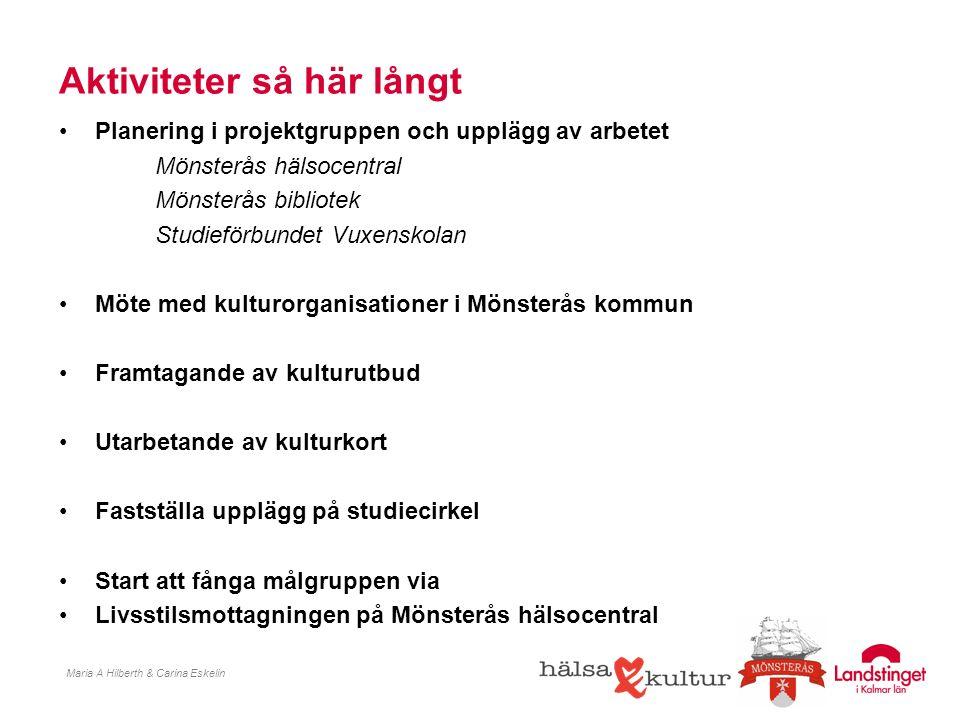 Planering i projektgruppen och upplägg av arbetet Mönsterås hälsocentral Mönsterås bibliotek Studieförbundet Vuxenskolan Möte med kulturorganisationer