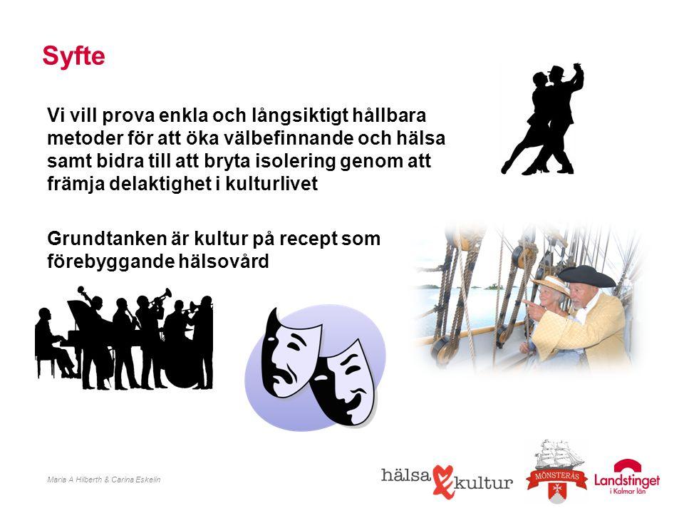 Mål efter avslutat projekt Maria A Hilberth & Carina Eskelin Etablerad metod med kultur på recept som förebyggande hälsovård Etablerade kontaktvägar mellan kulturförvaltning, hälsocentral, studieförbund och kulturföreningar Spridning av konceptet inom hela Kalmar län