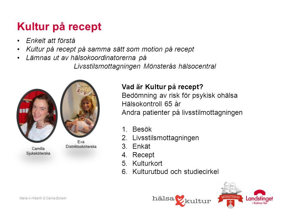 Kultur på recept Maria A Hilberth & Carina Eskelin Enkelt att förstå Kultur på recept på samma sätt som motion på recept Lämnas ut av hälsokoordinator